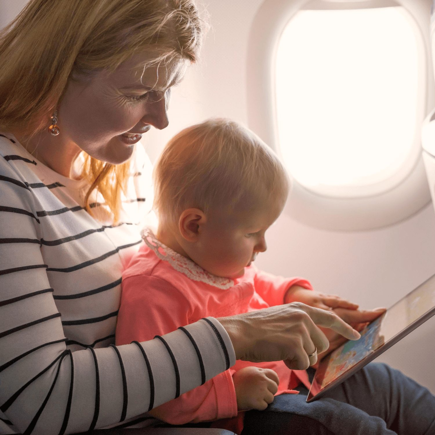Gatwick Airport Children's Facilities - infant on plane